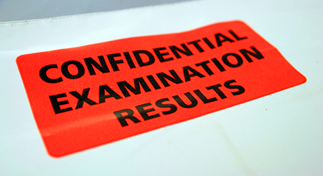exam results confidential correct size