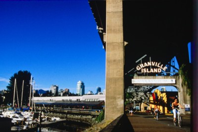 riding bikes under Granville Street Bridge