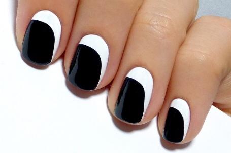 asymmetrical crescent nail art