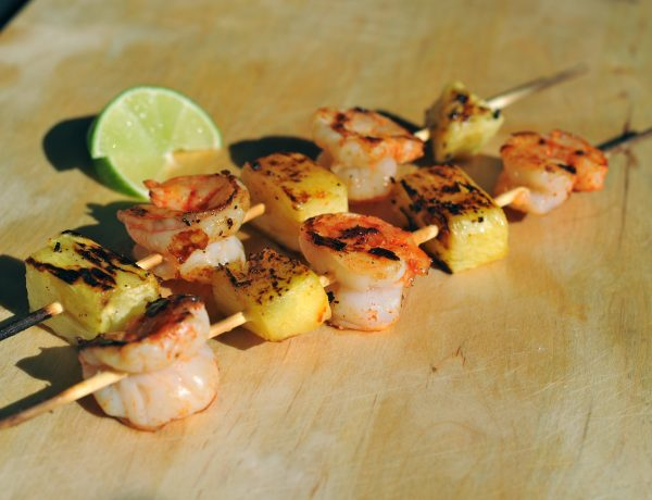 shrimp and pineapple skewers