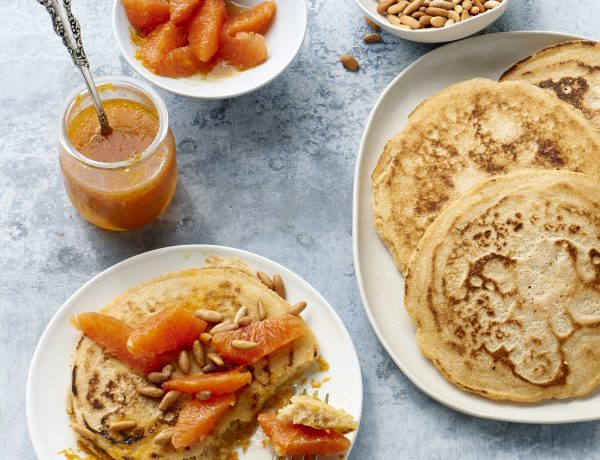 Vegan Pancakes Recipe with Orange Moscato Syrup and Pine Nuts