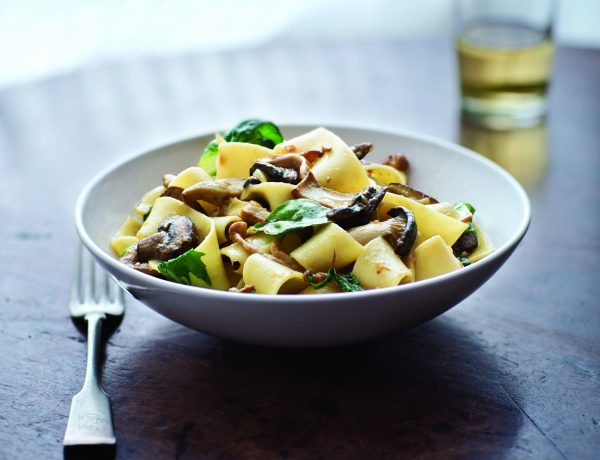 Egg Noodles with Wild Mushrooms and Spring Greens