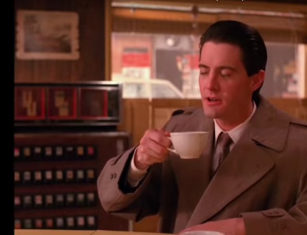 Craving coffee looks good on Dale Cooper.