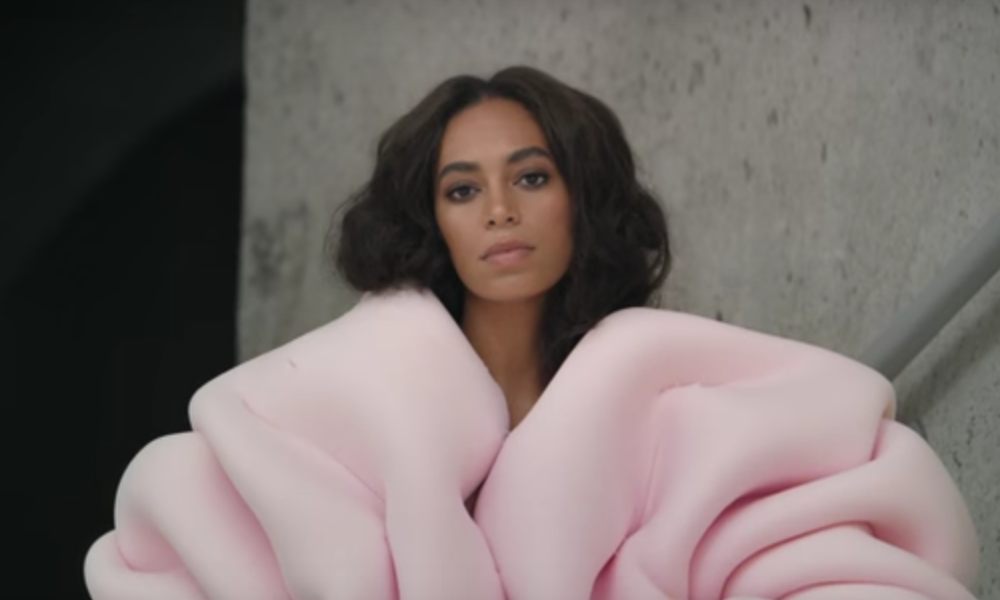 "Still shot from Solange's music video, ""Cranes in the Sky."""
