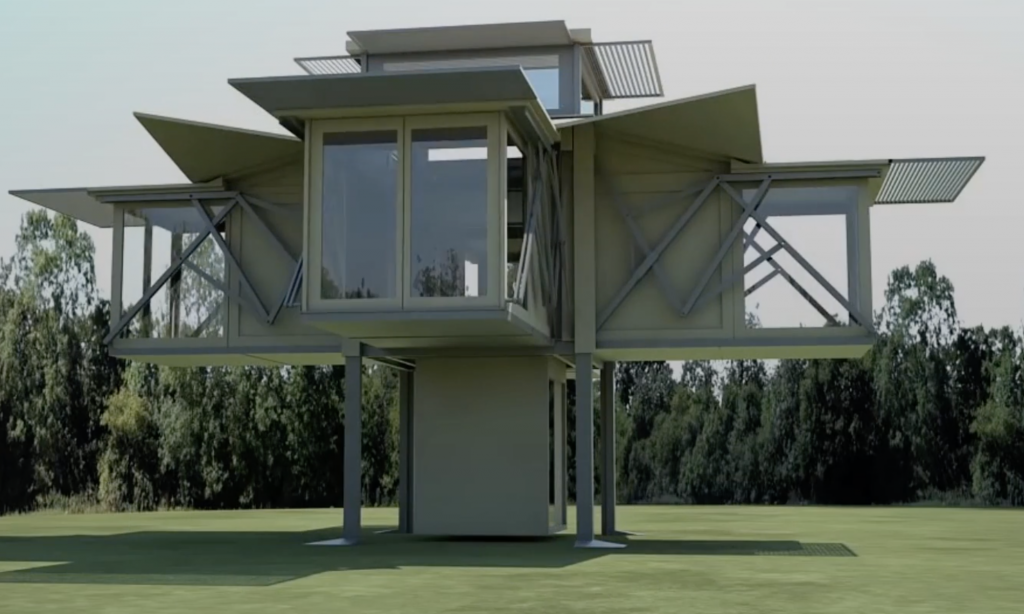A folding house makes it easy to move from place to place.