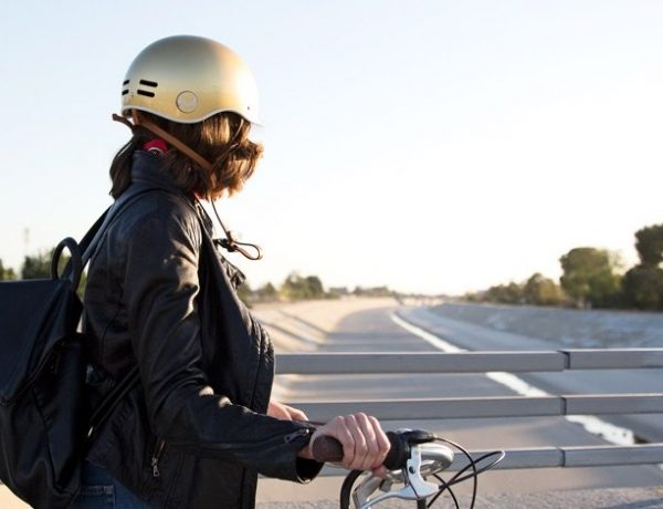 Chic bike helmet.