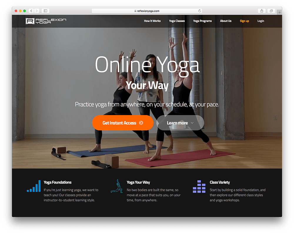 example of a yoga membership site