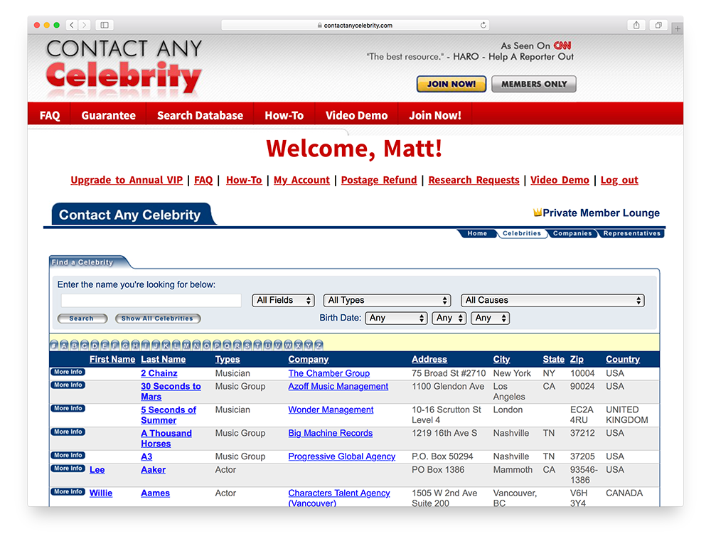 contact any celebrity homepage