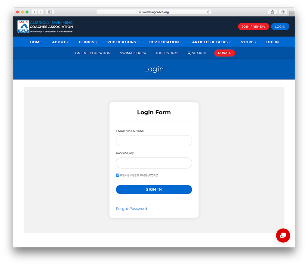 login page for a membership site
