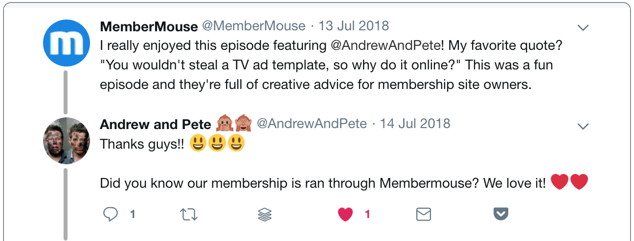 social media interaction about membership sites