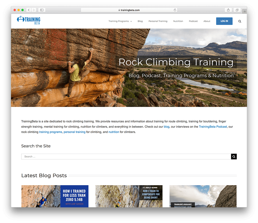 a membership site all about rock climbing and training