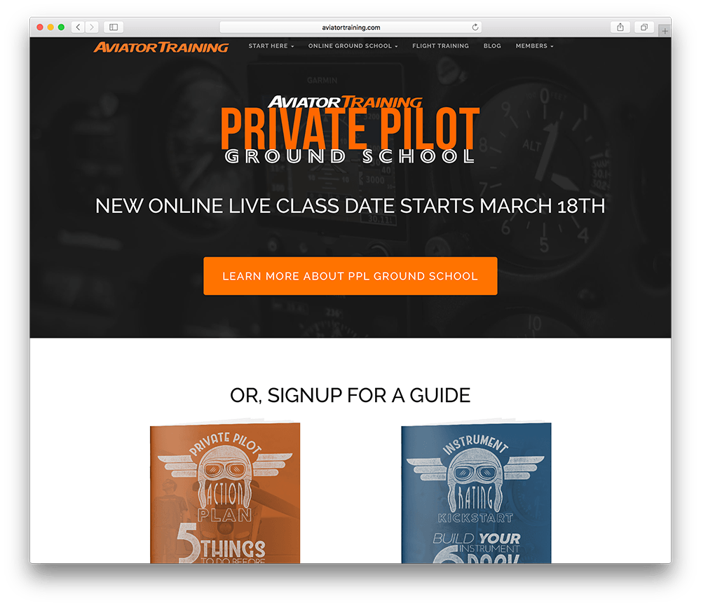 a membership site devoted to training pilots