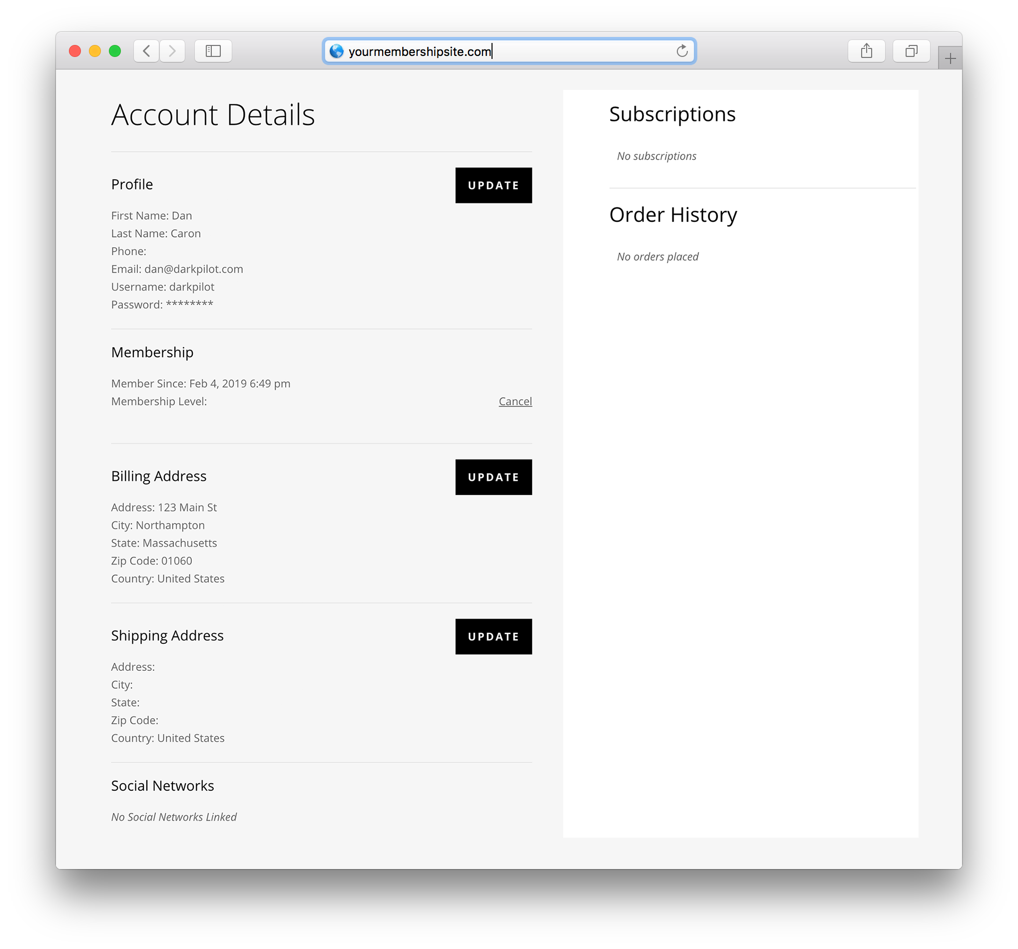 divi layout pack for membermouse my account page example