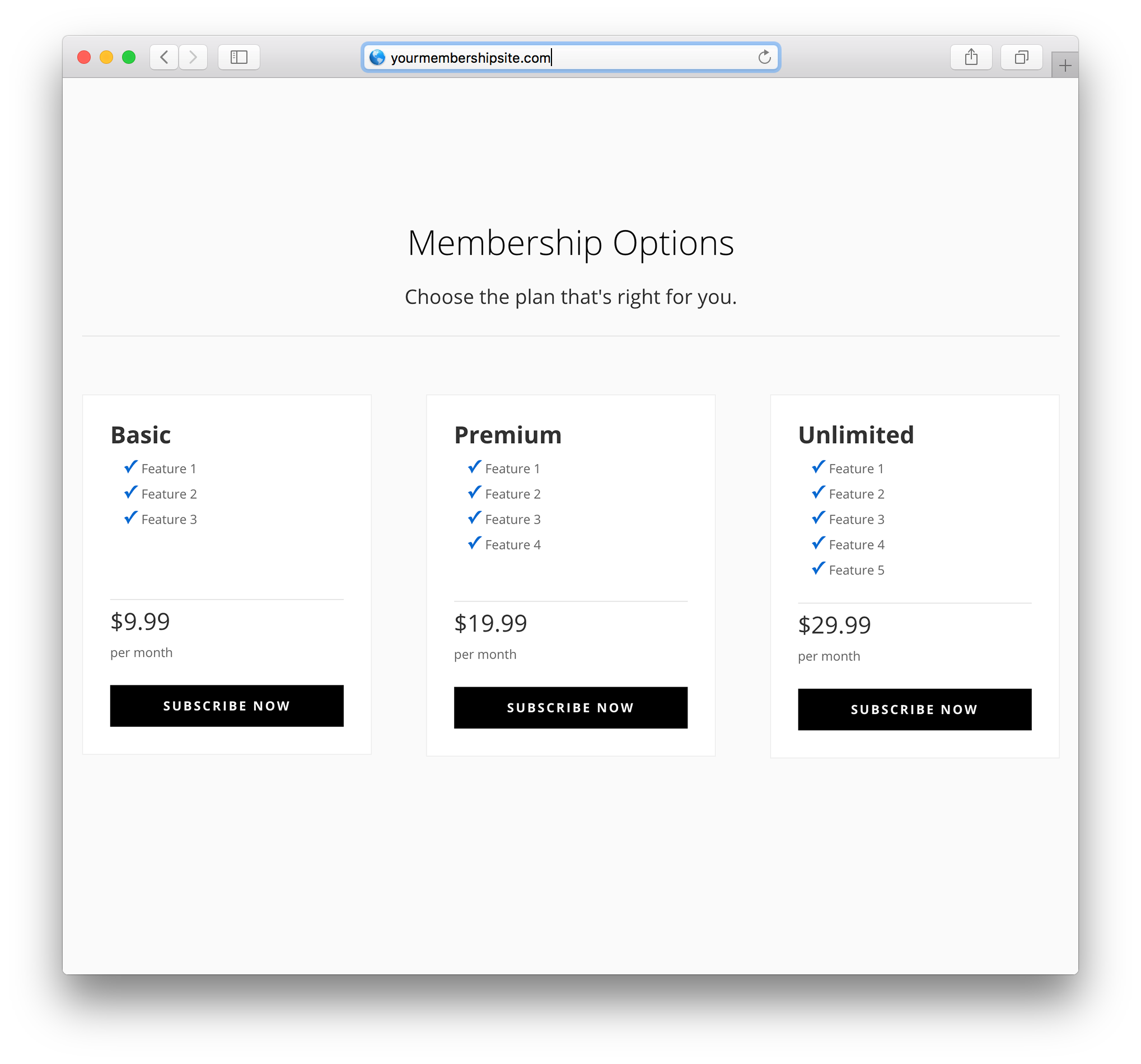 divi layout pack for membermouse membership plans page example