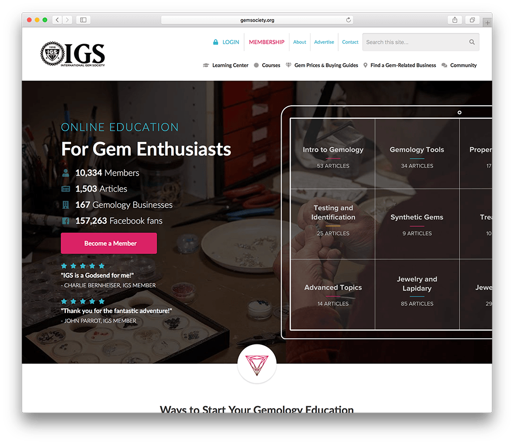 wordpress membership site all about gemstone education