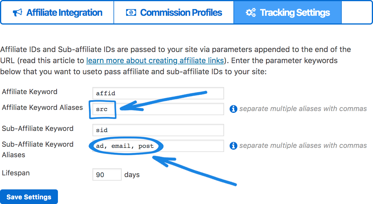 the different ways you can name your affiliate and sub-affiliate aliases