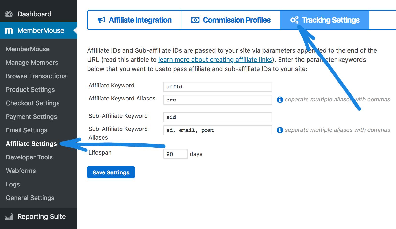 the membermouse affiliate dashboard settings