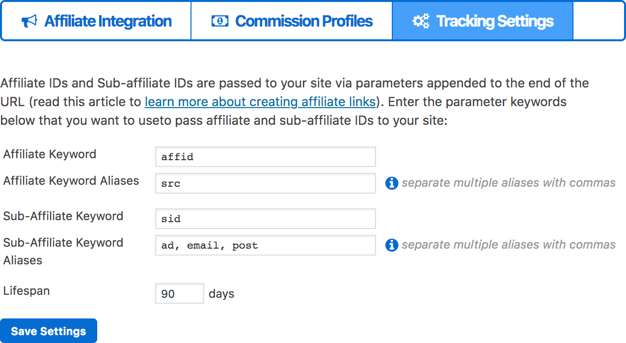 affiliate tracking settings in membermouse