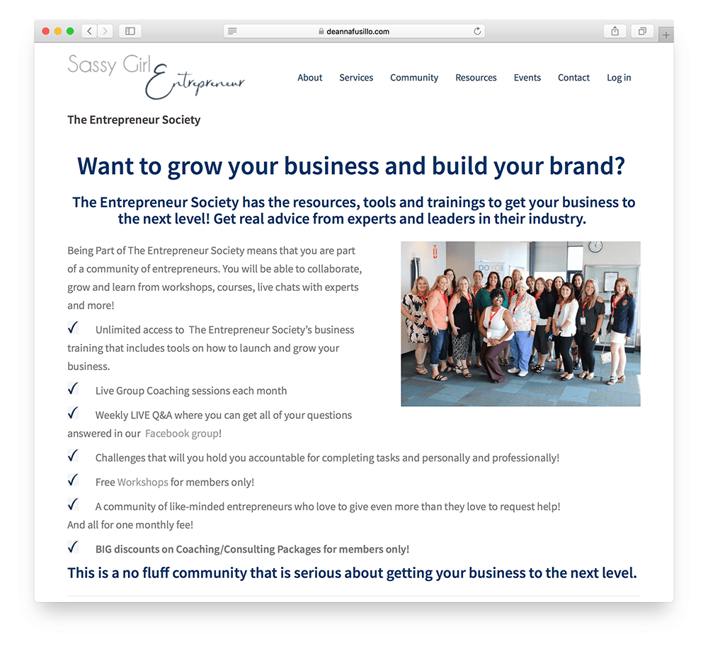 an example of a sales page for an online membership site