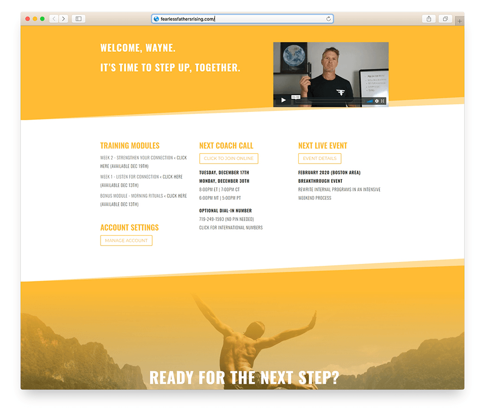 member homepage designed with divi layout pack for membermouse