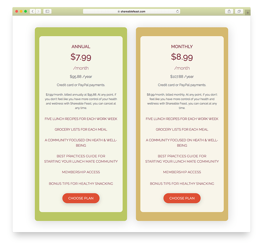 pricing page for an online subscription business
