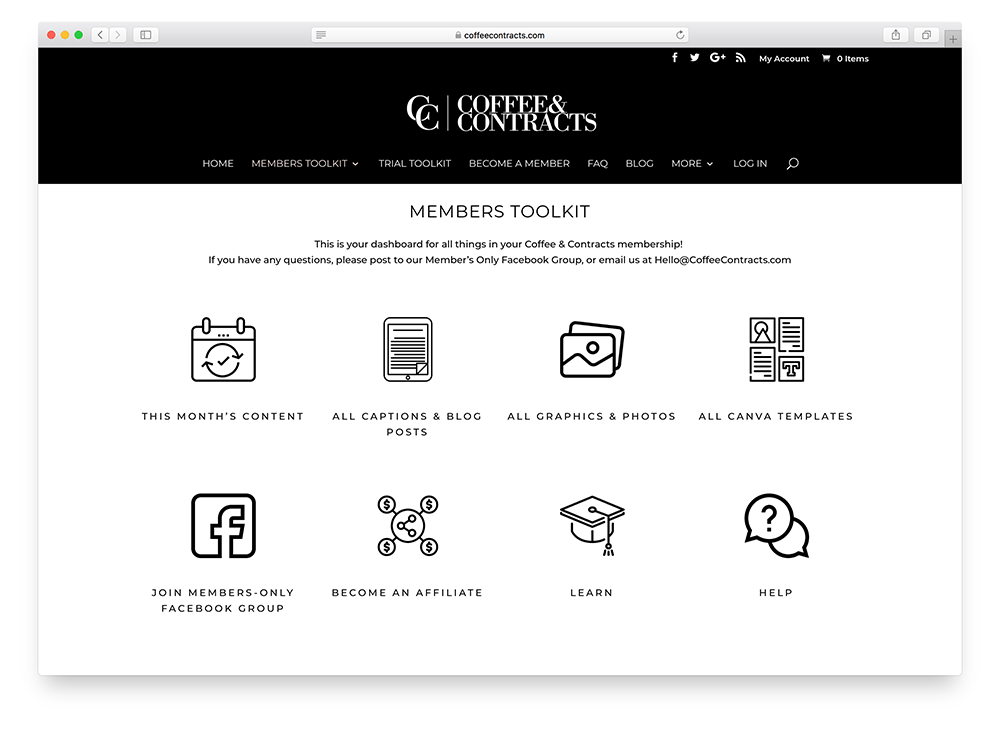 sales page for an online subscription business