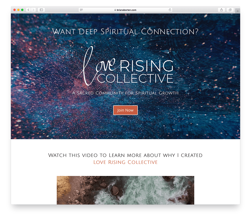 the landing page of the Love Rising Collective and online membership site