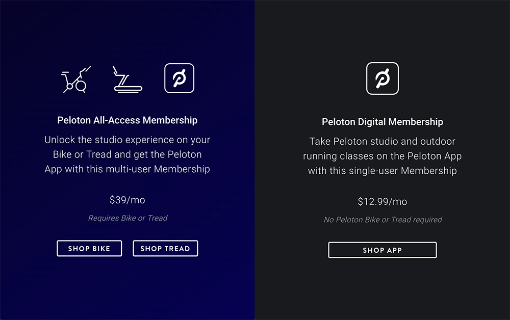 two membership level name examples from peloton