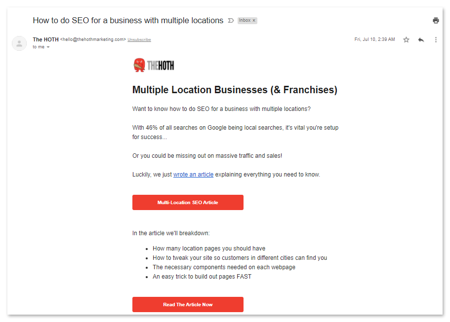 example of email membership