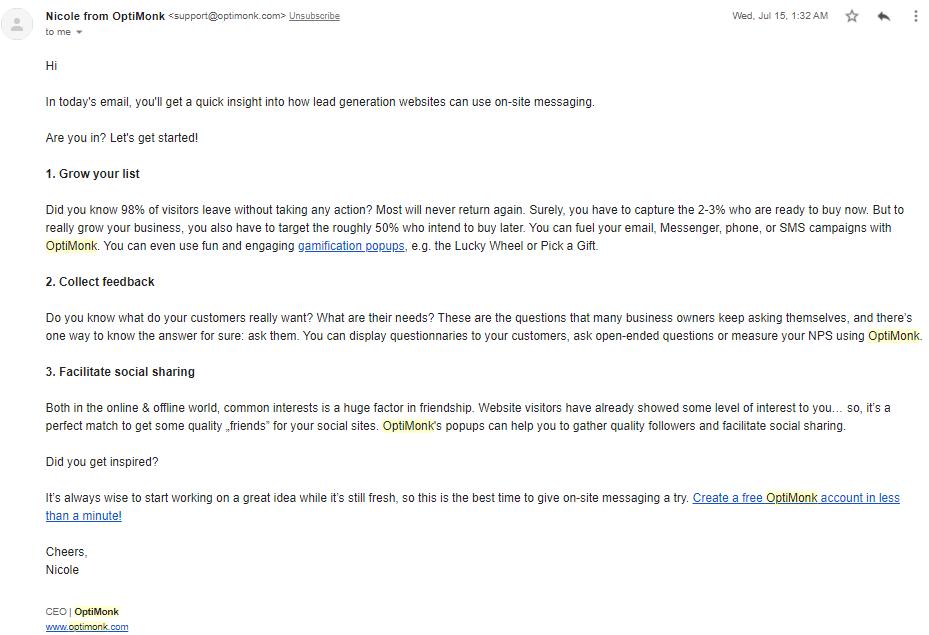email membership example