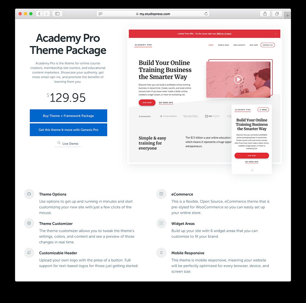 academy pro wordpress membership site theme