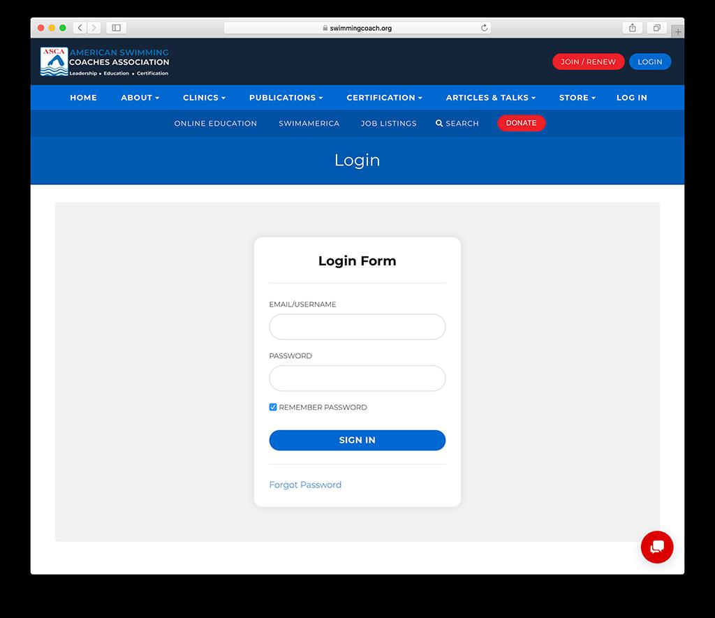Association membership login