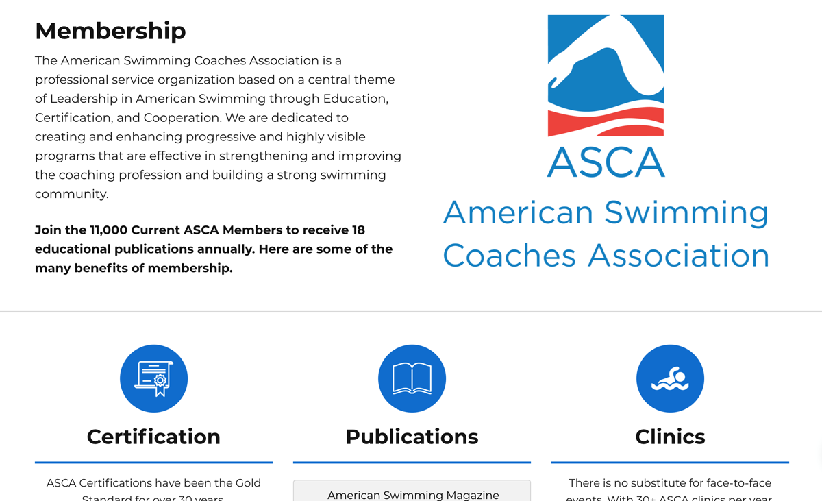 Association membership homepage