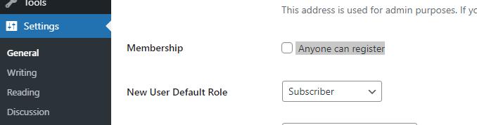 Membership Settings WordPress