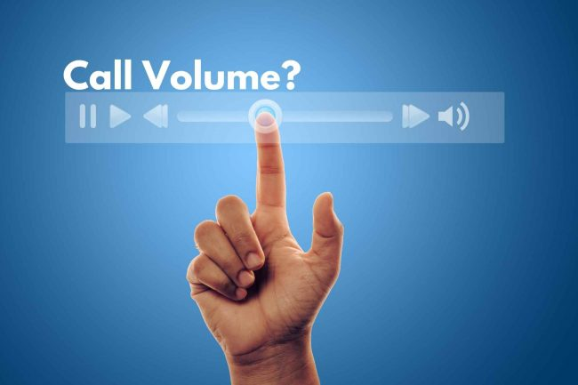call volume with a question mark and an image of a volume adjuster below it