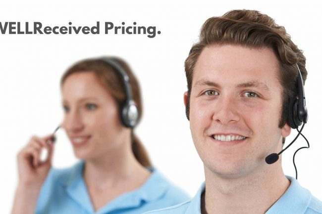 two medical answering service virtual receptionists with the words wellreceived pricing next to them