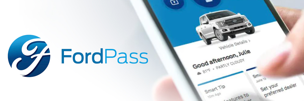person using Ford's FordPass smartphone app