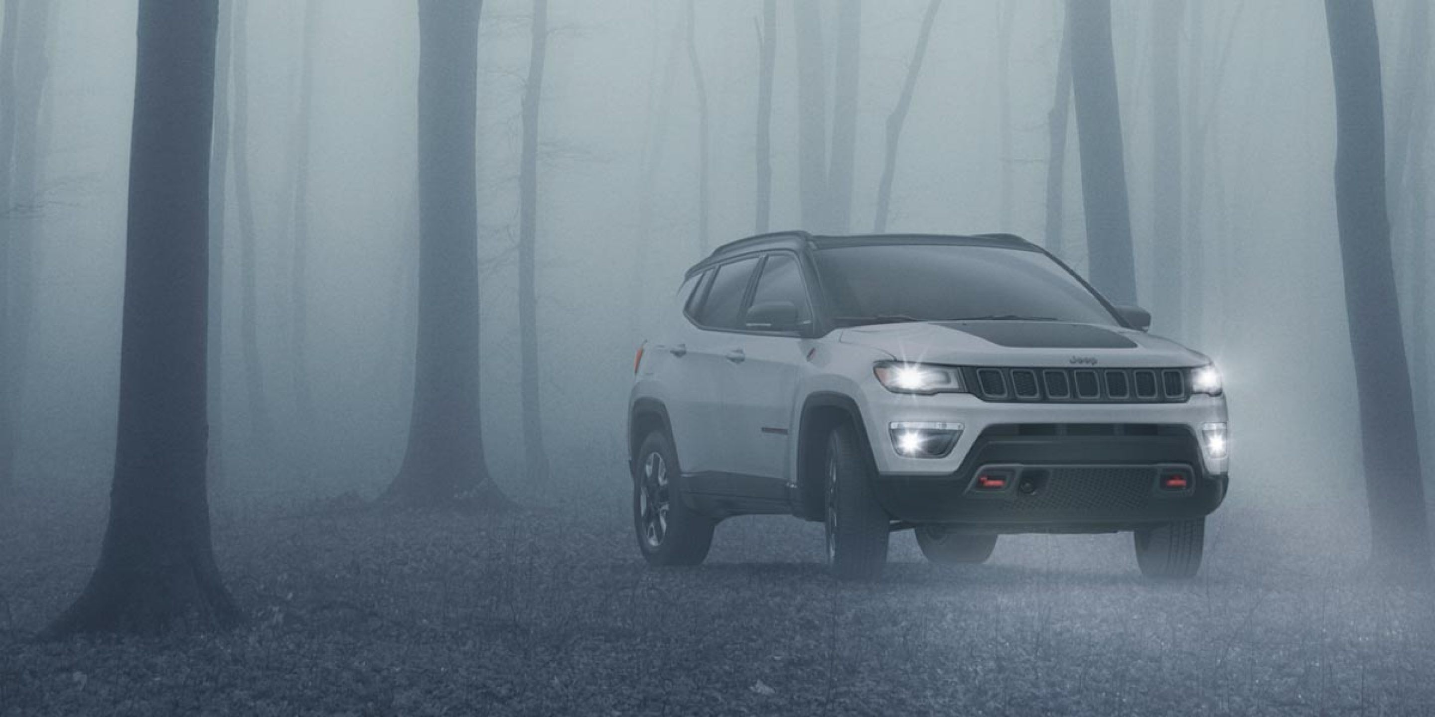white 2019 jeep compass parked in the foggy woods