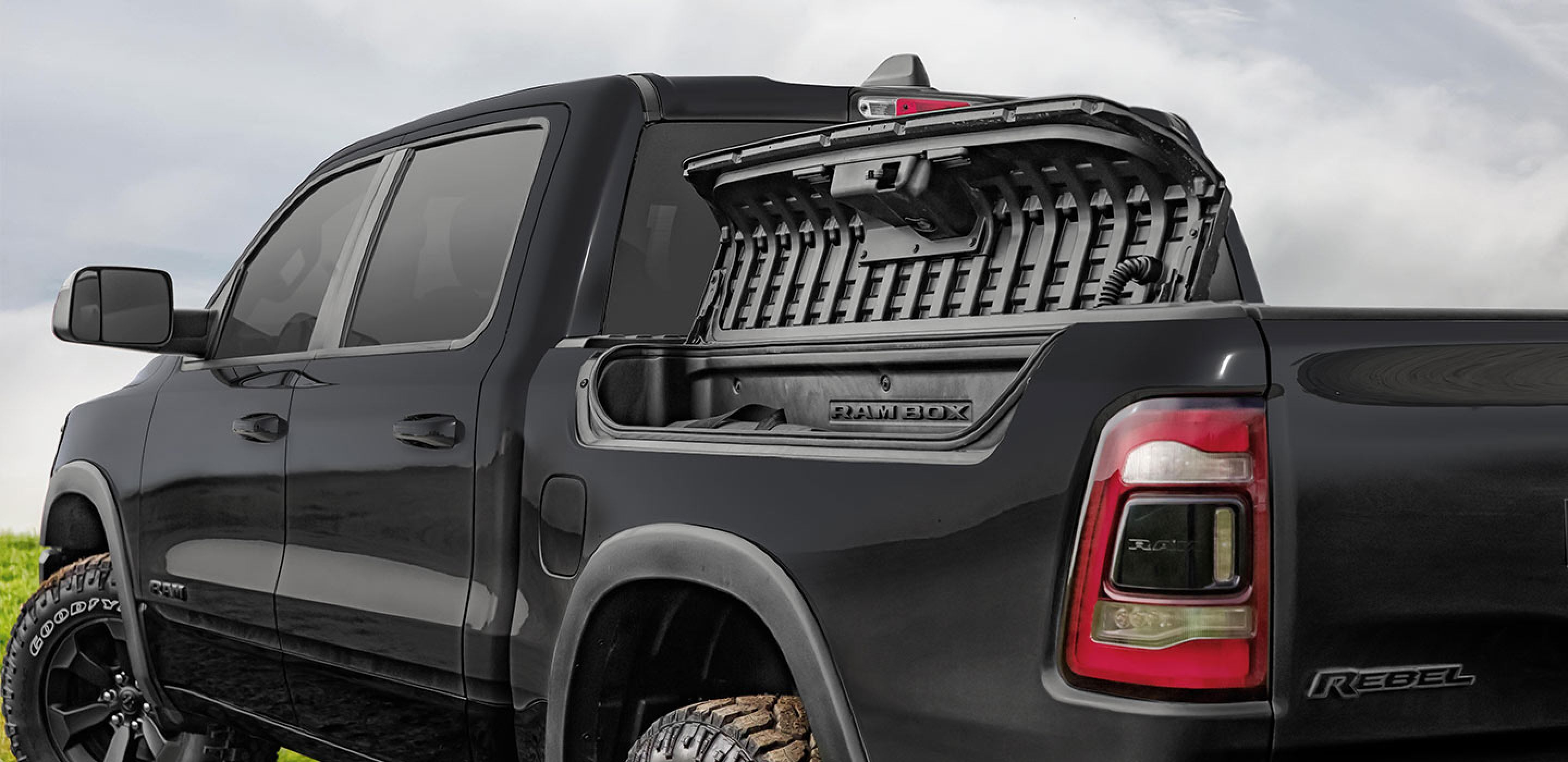 black 2020 ram 1500 rebel equipped with a rambox cargo management system