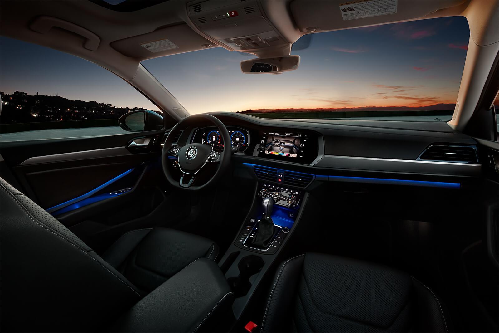 interior of a 2019 volkswagen jetta at sunset