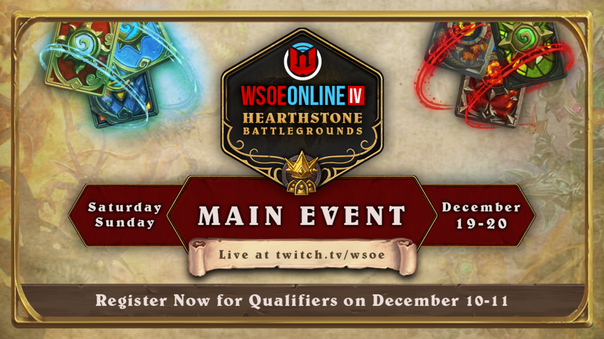 Announcing Wsoe Online Iv Hearthstone Battlegrounds Wsoe When designing a new logo you can be inspired by the visual logos found here. announcing wsoe online iv hearthstone