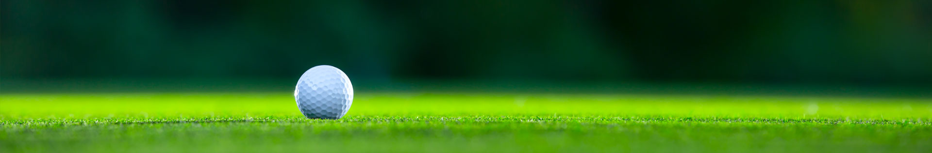 A close up photo of a golf ball on a putting green