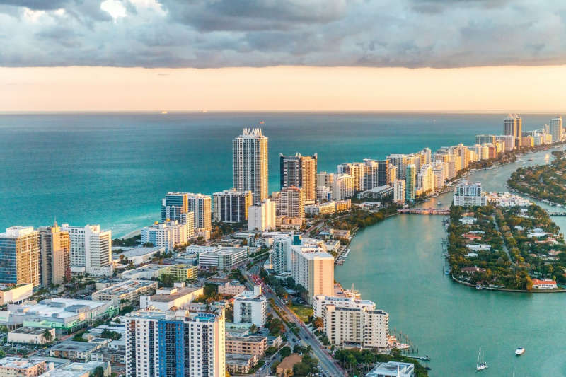 The Miami skyline, with many skyscrapers on the waterfront.