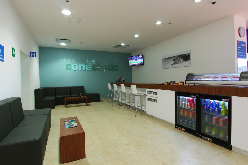 Lobby with snack area and stading height front desk