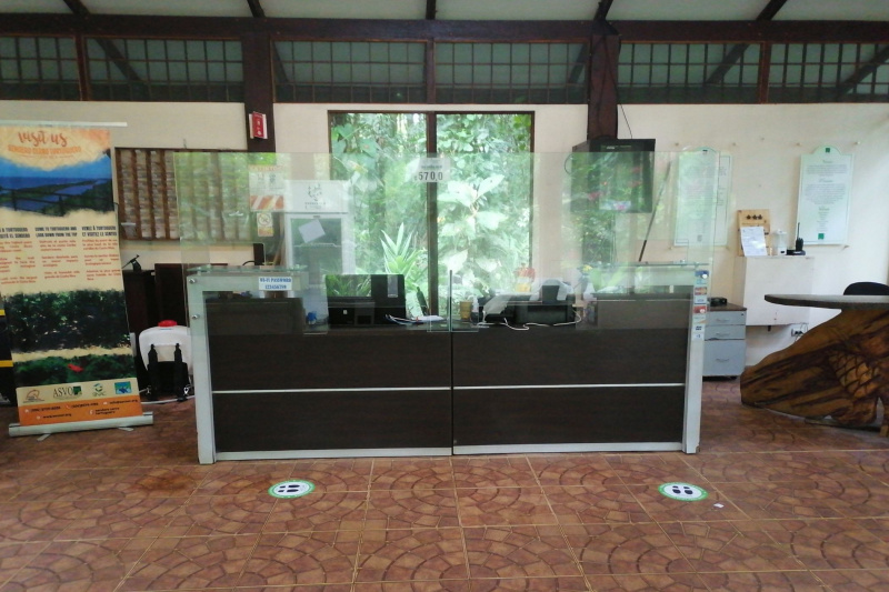 Seated front desk