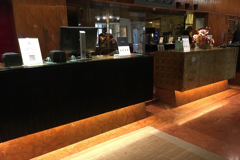 Standing  height check-in desk