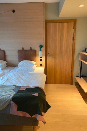 The accessible Double Twin Room has a keycard entrance.