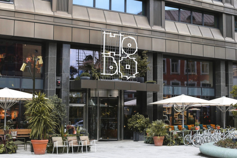 HOBO Hotel has a step free entrance with a revolving door and smooth flooring