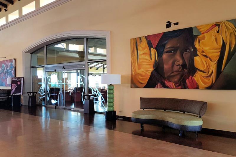 Hotel lobby with double doors