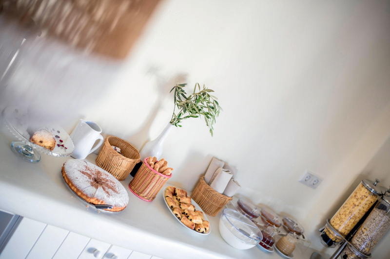 In-room breakfast with fresh fruits and pastries